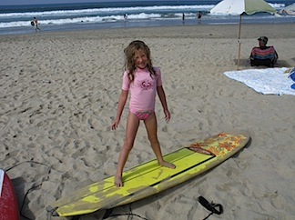 P on surfboard
