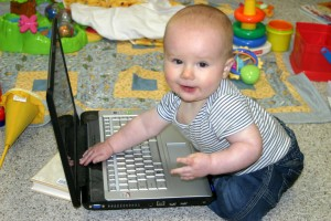baby using skype, talking to au pair